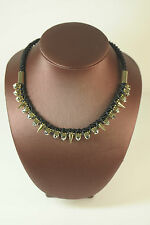 LADIES CHUNKY AZTEC BLACK ROPE GOLD STATEMENT NECKLACE UNIQUE BRAND NEW (CL9)