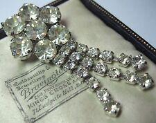 Lovely Vintage Art Deco Chiaro Cristallo Rhinestone Gioielli Goccia Scialle Pin Spilla