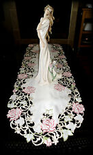 """Fancy Pink Rose Lace Dresser Scarf Table Runner 33"""" Cream ivory"""