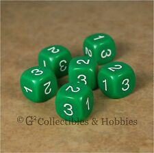 NEW Set of 6 D3 Six Sided 1 to 3 Twice Green Game Dice D&D RPG 16mm Koplow