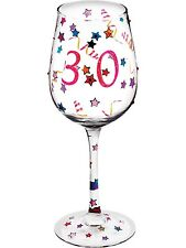 Bright Stars & Glitter Decorated Happy 30th Birthday 14oz Wine Glass 30 Gift Box