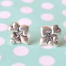 Playing Card Suite Gambling Face Silver Stud Earrings Suite Poker Club Spade