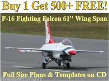 "F-16 Falcon 61"" WS Giant SCale RC Airplane Plans & Templates on CD In PDF Format"