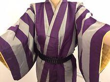 Vintage autentico fatto a mano giapponese Kimono Seta, per donna, Grigio & Viola (J547)