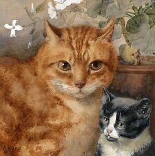 Stunning oil painting animals yellow cats mother with black kittens on canvas