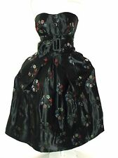 1950s Alfred Shaheen Dress Satin Strapless Party Dress Size M - L    ~RARE~