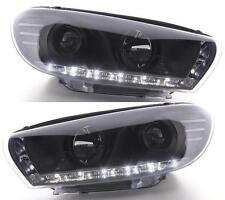 VW Scirocco Mk2 2008 onwards Black Projector R8 LED DRL headlights