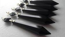 5 Chandelier Crystals Jet Black 80mm Icicle Prisms Lamp Parts Bulb Drop