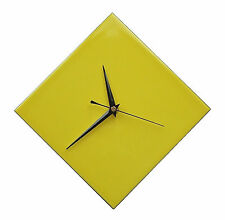 Contemporary Diamond Yellow Ceramic Wall Clock