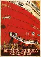 BREMEN EUROPA, Vintage Cruise Ship Travel Repro Rolled CANVAS PRINT 24x32 in.