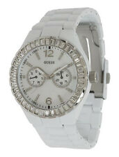 NEW GUESS CHILL WHITE SS SILVER SWAROVSKI CRYSTAL BRACELET LADY WATCH G13552L WT