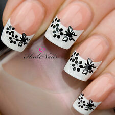 French Nail Art Tips Wrap Stickers Butterfly & Flowers inc Crystals YD830