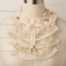 Victorian Gothic Cream Chiffon Lace Choker Neck Ruff Piece Collar Fairy Costume