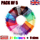 5 x Organza Gift Pouch Wedding Favour Bag Jewellery Pouch 23 Colours & 9 Sizes
