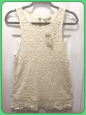 NWT LUCKY BRAND Women's Sleeveless Layered Lace Top Cotton White Small $59.50