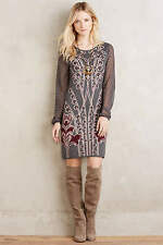 ANTHROPOLOGIE NWT Saone Sweater Dress by Knitted & Knotted Grey Sz L $168