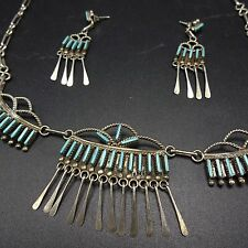 Vintage ZUNI Sterling Silver & TURQUOISE Needlepoint NECKLACE & EARRINGS Set