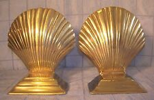 VINTAGE BRASS SCALLOP SHELL BOOKENDS INDIA