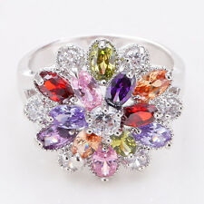 Fashion Jewelry 925 Silver Multi Color Topaz Crystal Flower Ring Women Wedding