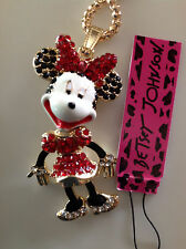 """RED CRYSTAL MINNIE MOUSE 28"""" Pendant Necklace Betsey Johnson GIFT BOX"""