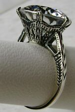 6ct White Gem Solid Sterling Silver Edwardian 1910 Etched Filigree Ring Size 7