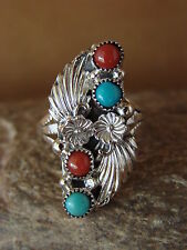 Native American Indian Jewelry Sterling Silver Turquoise  Ring, Size 8  Begay