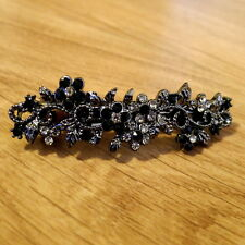 "Small 2.5"" Antiqued Silver Black Crystal Filigree Barrette Vintage Hair Clip"