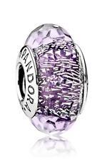 Authentic Pandora Charm Dark Purple Shimmer Murano Glass 791663 Bead