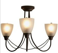 Modern Gothic 3 Arm Flush Ceiling Light Chandelier NEW Black Frosted Uplighter