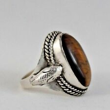 Asian Ethnic 925 Sterling Silver Overlay Tiger Eye Stone  Ring  US Size 10/25
