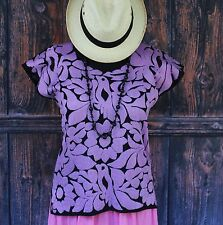 Light Purple & Black Hand Embroidered Huipil Blouse Jalapa Mexico Hippie Cowgirl
