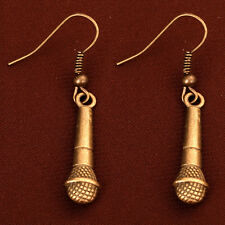 Cool Bronze Tone Microphone pendant Dangle hook Earrings party prom Jewelry