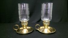 Vintage Candle Holders  (2-set) - Etched Glass & Brass with Loop Handles