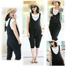 NEW MATERNITY PANTS TROUSERS OVERALLS DUNGAREES COTTON BLACK TRENDY COMFY 0114