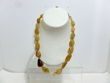 NECKLACE VTG  KENNETH COLE NY  OVAL MULTIPLE AMBER BEADS NECK LACE W/ CLIP 5317