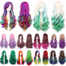 Long Curly Wavy Rainbow Wigs Heat Resistant Women's Cosplay Costume Full Wig