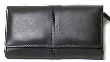 Genuine Lambskin Leather Ladies Wallet BLACK # 7295 USD