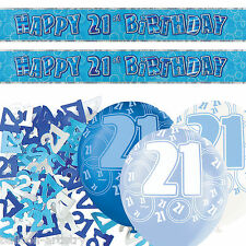Blue Silver Glitz 21st Birthday Banner Party Decoration Pack Kit Set