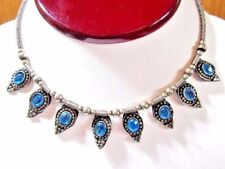 VINTAGE CHOKER NECKLACE SILVER PLATE COILED WIRE INDIA BLUE GLASS STONES VINTAGE