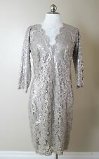Tadashi Shoji Cocktail Party Dress Smoked Pearl Lace Sequins Sz 10