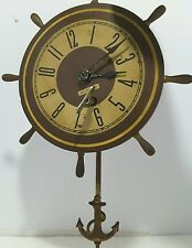 Vintage Plymouth Ship Wheel Nautical metal Wall Clock - Anchor Pendulum