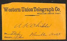 WESTERN UNION TELEGRAPH COVER KIMBLE HOTEL NO. 70 CHARGES PAID (c. 1860s)