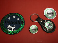 BENELLI, LEATHER KEY RING,  BADGE & PATCH SET  & FREE ` BENELLI` PHONE STICKER