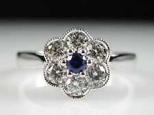 S KASHI Sapphire Diamond Ring Flower 14K White Gold Fine Jewelry Signed Designer