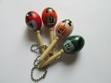 36 Wooden MARACA KEYCHAINS key chains bulk FREE SHIP wood maracas beach luau