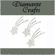 3 x 42mm Clear Diamante Shooting Stars Self Adhesive Rhinestone Craft Gems