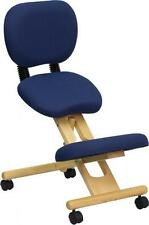 Flash Furniture Mobile Wooden Ergonomic Kneeling Posture Chair, Navy Blue Fabric