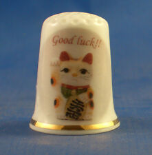 Birchcroft China Thimble -- Good Luck Cat  -- Free Dome Gift Box