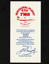 OPC 1979 TWA USPS Inaugural Flight NY to Miami Cachet Sample