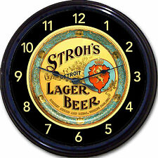"""Strohs Beer """"Beer Tray"""" Wall Clock Detroit MI Ale Lager Brew Pub Man Cave New10"""""""